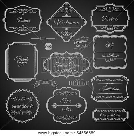Vintage Calligraphic Frames with Design Elements. Set of Labels.