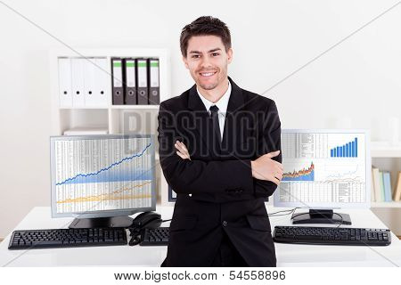 Confident Smiling Stock Broker