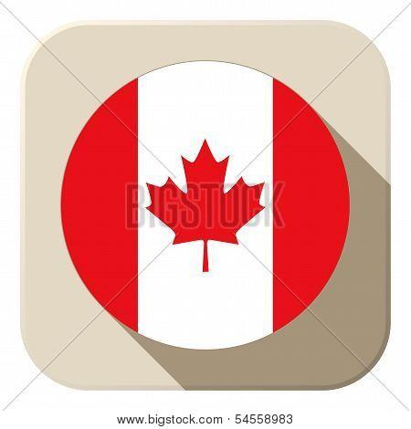 Canada Flag Button Icon Modern