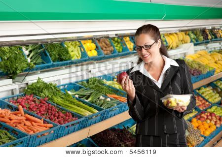 Shopping Series - Business Woman Holding Apple