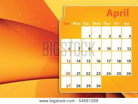 Colorful abstract background 12 months 2014 Calendar