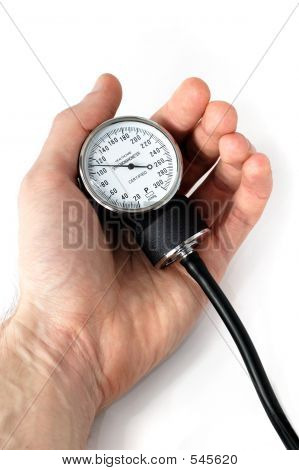 Manual Blood Pressure Monitor In Hand Medical Tool Isolated