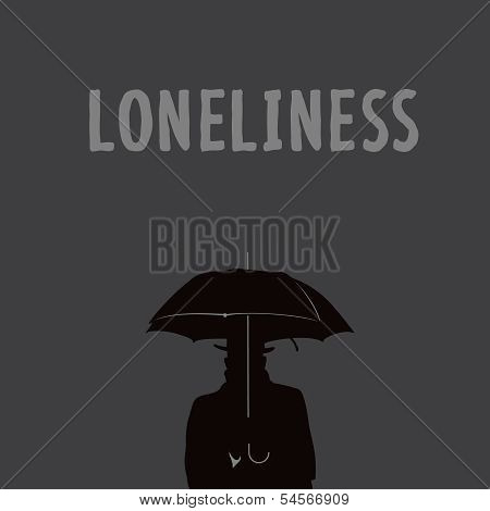 Silhouette of the lonely man under an umbrella
