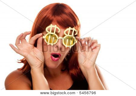 Red Haired Girl With Bling-bling Dollar Glasses