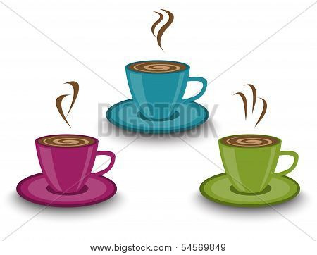 cups of steaming drinks