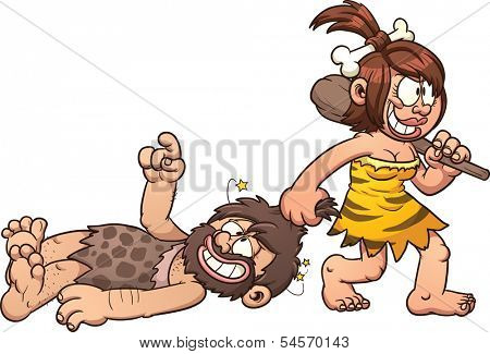 Cave woman dragging a caveman clip art. Vector cartoon illustration with simple gradients. All in a single layer.