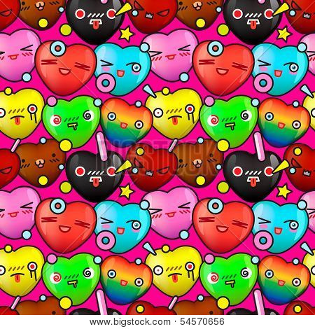 Colorful cute cartoon seamless pattern