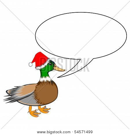 A Funny Christmas Duck With A Speech Bubble