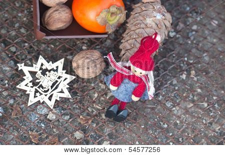 Ebony,  Walnuts,  Fir Cone And New Year's Toys