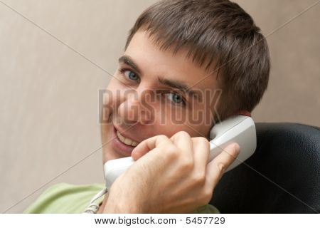 Man With Telephone Smiles