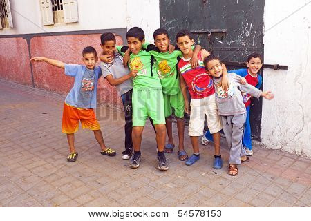 RABAT, MOROCCO - October 15 2013 : Kids in the streets on Eid al-Adha. The festival is celebrated by sacrificing a sheep or other animal and distributing the meat to relatives, friends, and the poor.