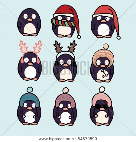 Penguins Cartoon Set
