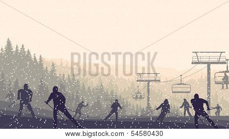 Horizontal Illustration Of Skiers In Morning Hills Coniferous Forest.