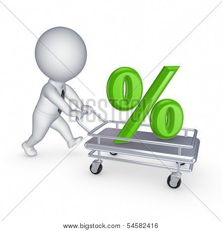 3d person with symbol of percents on a pushcart.