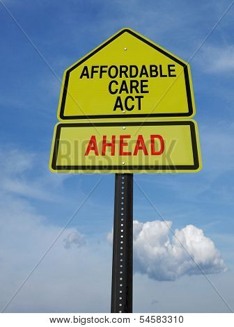 conceptual sign with words affordable care act ahead over blue sky