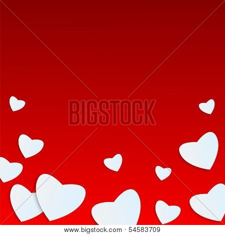 Background Valentine's Day.white Heart On A Red Background.hearts Of Different Sizes Of Paper.vector