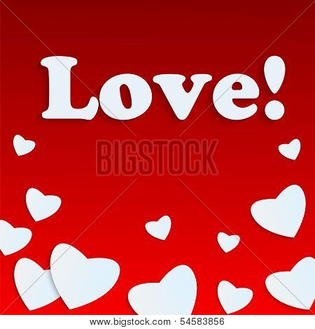 Background Valentine's Day.white Heart On A Red Background.hearts Of Different Sizes And The Word Lo