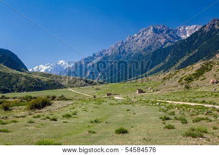 Rural landscape in Tien Shan mountains