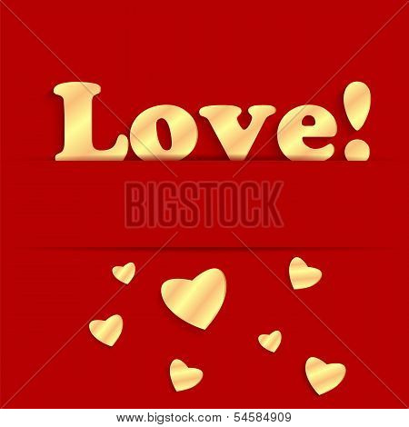 Background Valentine's Day.gold Hearts On A Red Background.golden Hearts Of Different Sizes And The