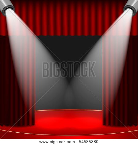 Theatrical Background.scene And Red Curtains.scene Illuminated Floodlights.vector