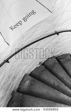 Motivational Encouraging Sign On The Stairs - Keep Going