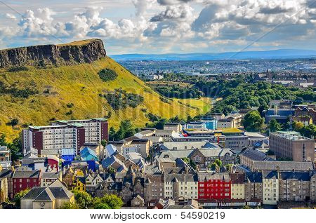 Edinburgh Citiscape View With Houses And Salisbury Crags, Scotla