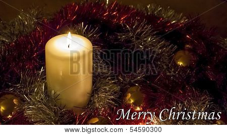 Christmas Candle And Tinsel - Merry Christmas!