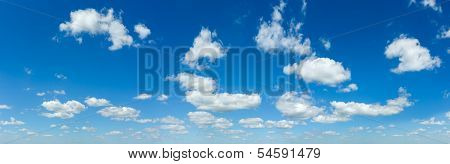 Blue Sky Panorama With White Clouds