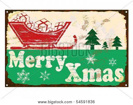 Merry Xmas Enamel Sign