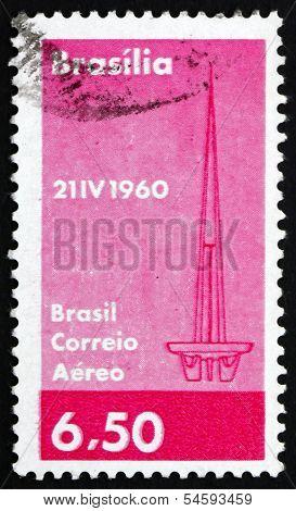Postage Stamp Brazil 1960 Tower At Brasilia
