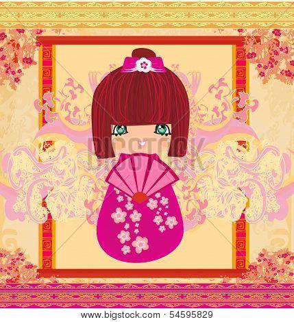 Kokeshi Doll Cartoon Character , Beautiful Abstract Card