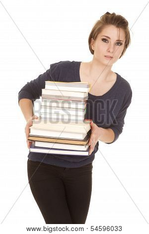 Woman Stack Of Books Holding Look Around.