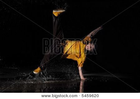 B-boy Dances In Water