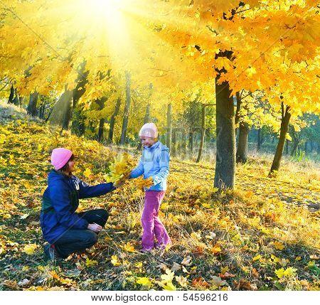 Family In Autumn Sunshine Maple Park