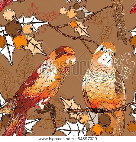 Seamless pattern with pair of budgies