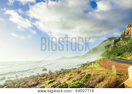 Cape Town Nature Landscape With Ocean And Beach Shore