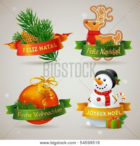 Merry Christmas Icons In Different Languages