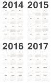 foto of calendar 2014  - Simple european 2014 2015 2016 2017 year vector calendars - JPG