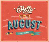 picture of august calendar  - Hello august typographic creative design - JPG
