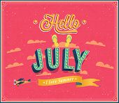 Hello July Typographic Design.