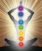 stock photo of mantra  - Man silhouette in yoga position with the symbols of seven chakras - JPG