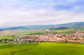 picture of tatar  - Spissky hrad village panorama from the castle in Slovakia High Tatars region - JPG