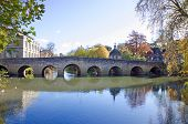 stock photo of avon  - Autumn Scene of an Old Town Bridge in Bradford on Avon - JPG