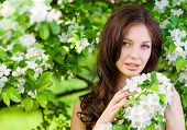 stock photo of nearly nude  - Portrait of pretty woman near the flowered tree in the park - JPG