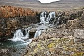 image of taimyr  - Photo waterfall  on the Putorana plateau - JPG