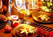 Christmas And New Year Holiday Table Setting. Celebration. Place setting for Christmas Dinner. Holid