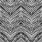 image of tribal  - Black and white hand drawn vector seamless pattern with zigzag lines - JPG