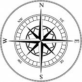 image of treasure map  - Compass winds rose black and white vector shape - JPG
