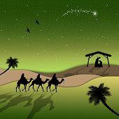 foto of magi  - an illustration of Nativity scene with Magi on camels - JPG