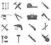 pic of hammer drill  - Tools icons isolated on white background - JPG